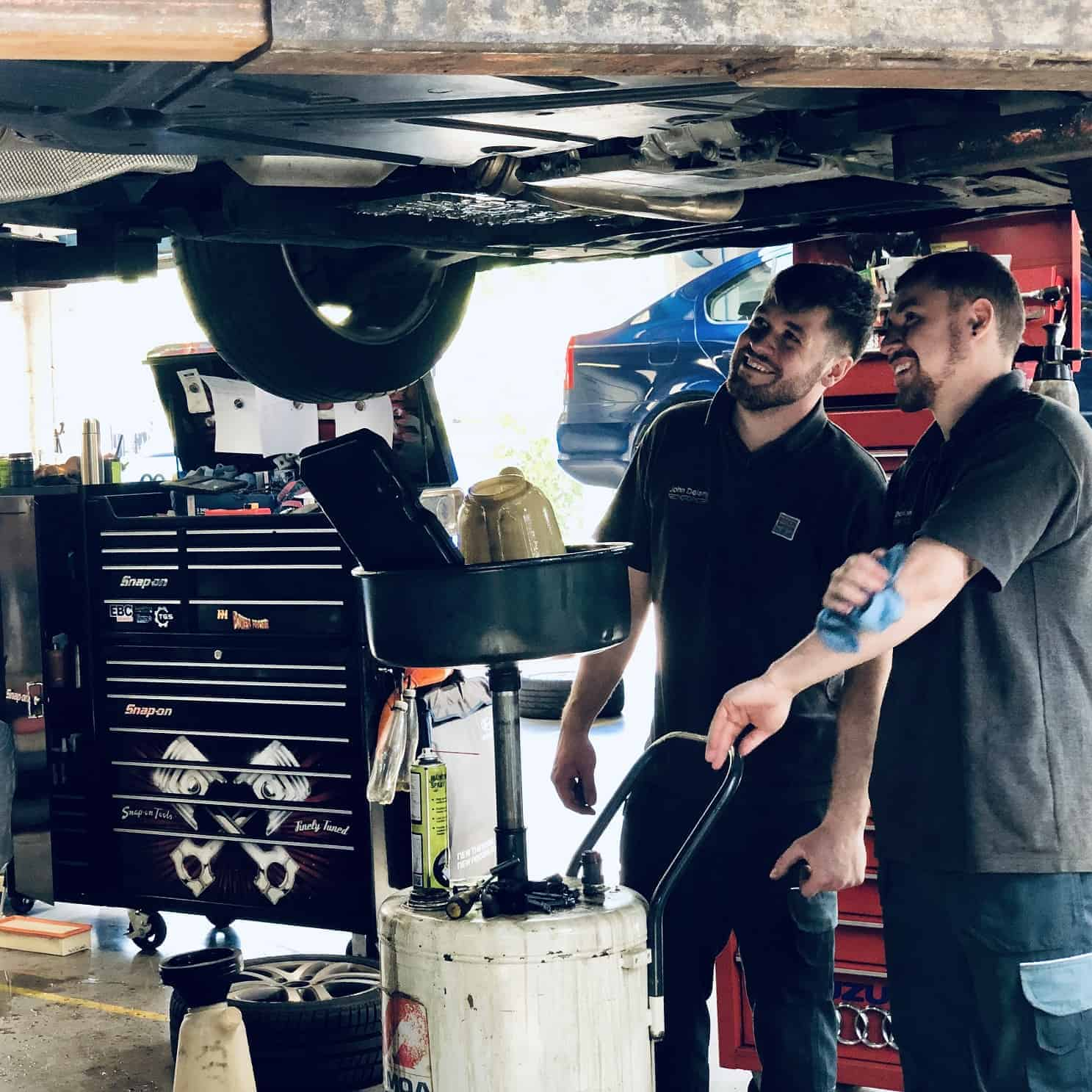 vehicle technicians at work